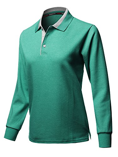 Xpril Casual 100% Cotton Long Sleeves 2-Tone Collar Polo Top Green Size XL ()