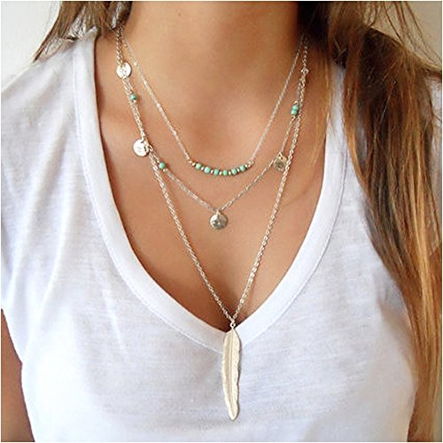 Fashion Sequins (Suyi Exquisite Sequins Multilayer Chain Turquoise Beads Necklace with Feather Pendent)