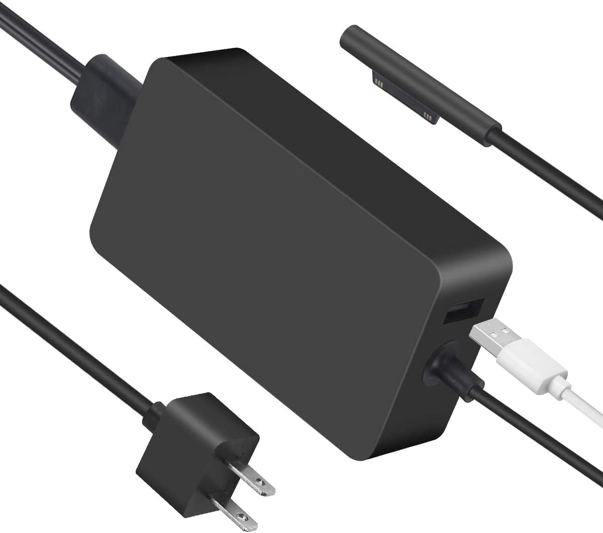 Surface Pro 3 & 4 & 6 Charger Power Adapter, 44w Surface Pro Charger Supply Compatible Microsoft Surface Pro 6 Pro 5 Pro 4 Surface Laptop 2 & Surface Go with 5V 1A USB Charging Port