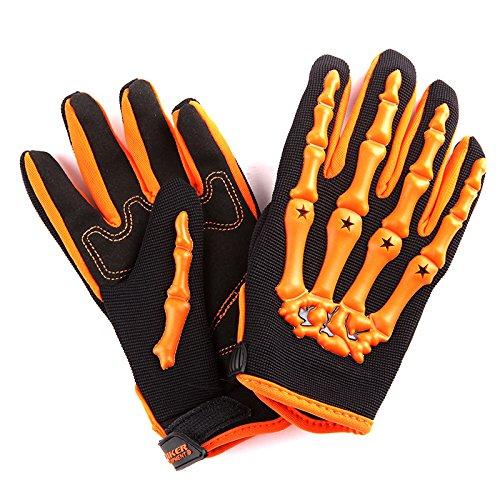 1Storm Adult Motocross Helmet BMX MX ATV Dirt Bike Helmet Racing Style Glossy Orange; + Goggles + Skeleton Orange Glove Bundle by 1Storm (Image #8)