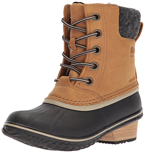 SOREL Women's Slimpack Lace II Snow Boot, Elk, Black, 10 B(M) US (Elk 2)