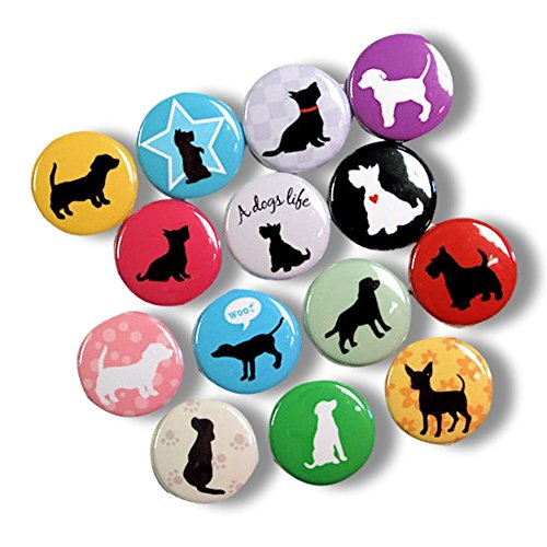 "Custom & Novelty {1"" Inch} 14 Bulk Pack, Mid-Size Button Pin-Back Badges for Unique Clothing Accents, Made of Rust-Proof Metal w/ Cute Cuddly Critters Puppy Dog Colorful Simple Style [Multicolor] Dog Clothing Buttons"