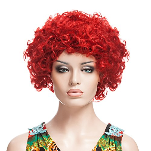 YOPO Short Curly Wig for Women with Wig Cap and Bobby Pins, Red (Short Curly Red Wigs For Women)