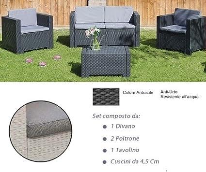 Mod Cod.:4040 Divano con Poltrone e Tavolino//Salotto//Salottino in Polyrattan per Esterno//Arredo Giardino Antracite