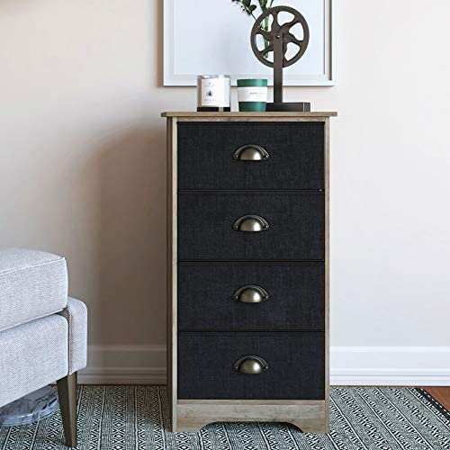 Nathan James Calvin Antique Dry Oak Bedroom Dresser Storage with Fabric, Gray Black