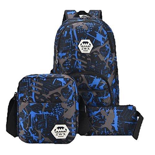 Weilong Teens School Backpack Set Canvas Girls School Bags Bookbags Set of 3 (Blue) [並行輸入品]   B078BQS359