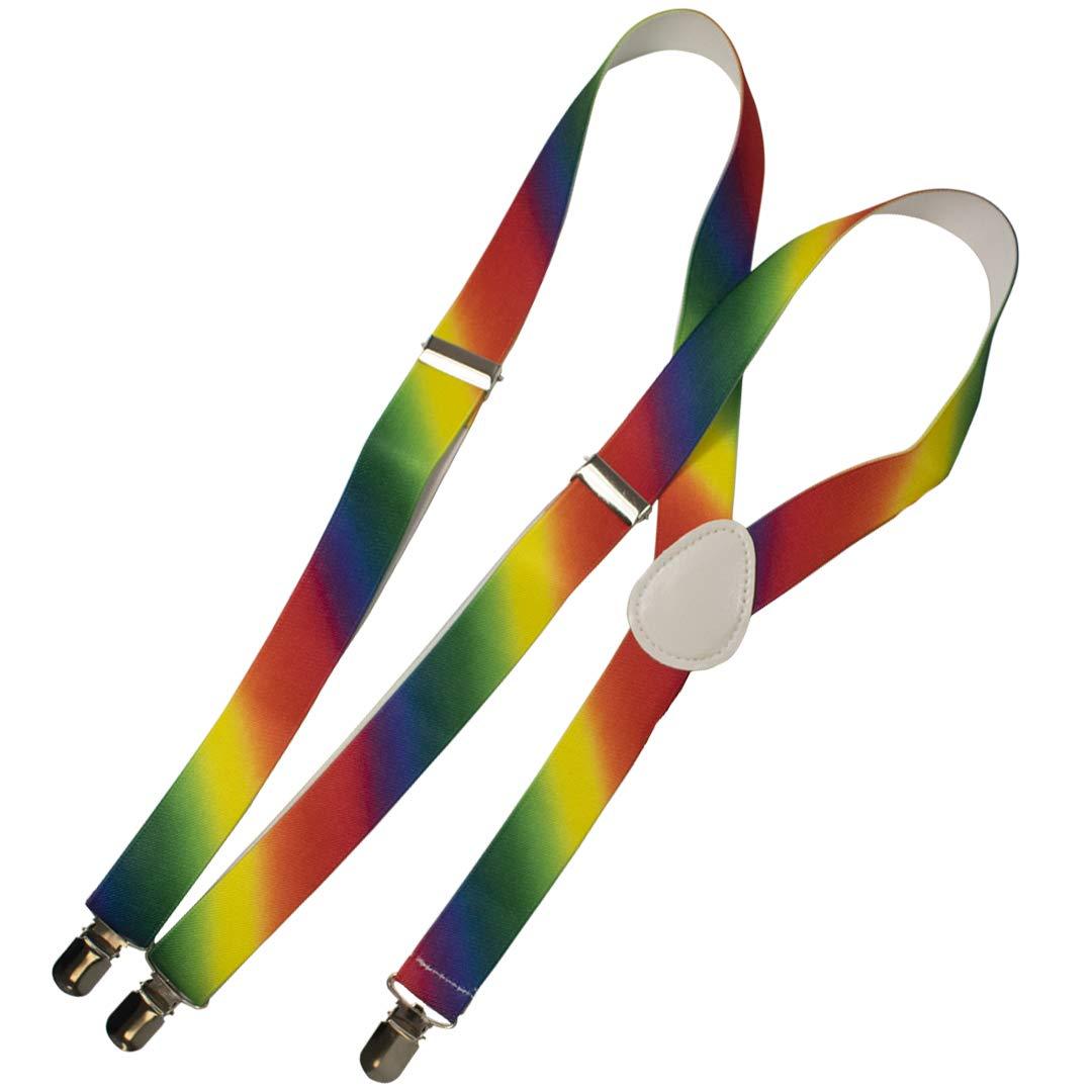 Elasticizzate a Forma di Y sospensori Accessori per Eventi Pride e Costume per Le Feste-Grandi Dimensioni TRIXES 2 PZ Papillon e Bretelle Arcobaleno