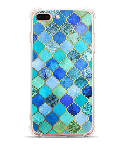 iPhone 8 Plus Case, iPhone 7 Plus Case, Hepix Blue Moroccan Pattern Protective Bumper Back Cover for iPhone 7/8 Plus[5.5 inch]