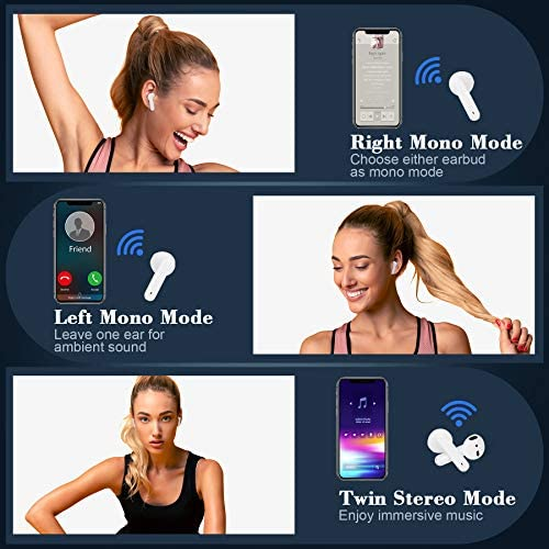 True Wireless Earbuds Bluetooth 5.0 Headset with Charging Case Touch Control Built-in Mic CVC 8.0 Noise Reduction IPX7 Waterproof TWS Stereo in-Ear Earbuds for iPhone/Android/Airpods