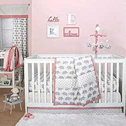 Grey Elephant and Triangle Dot 3 Piece Baby Crib Bedding Set with Coral Pink for girls by The Peanut Shell
