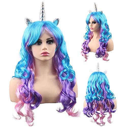 Unicorn Halloween Costume For Adults (kaste Women Princess Rainbow Unicorn Wig Long Curly Hair Wigs Halloween Party Cosplay)