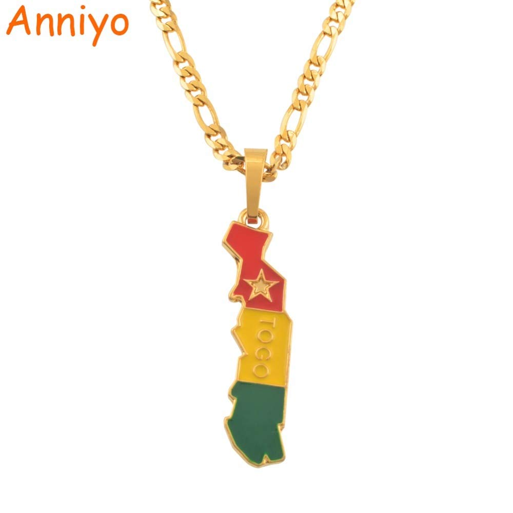 Length: 45cm by 3mm Chain Davitu Flag and Map of Togolaise Pendant Necklaces for Women Men Togo Maps Gold Color Jewelry Togolese Itmes #122206