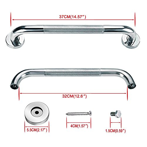 Sunmall 16 Inch Bath Grab Bar, Sturdy Stainless Steel Shower Safety Handle For Bathtub,Toilet, Bathroom,Kitchen,Stairway Handrail,Anti-Slip Grip Prevention for Elderly, Handicapped, Disabled,Pregant W by SUNMALL (Image #1)