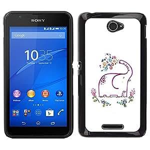 Sony Xperia E4 Único Patrón Plástico Duro Fundas Cover Cubre Hard Case Cover - Minimalist Elephant White Happy