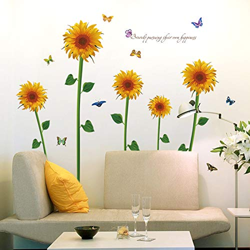 - Clest F&H Sunflower Wall Art Stickers Removable Mural Vinyl Decal TV Sofa Living Room Backdrop Wallpaper Home Decoration