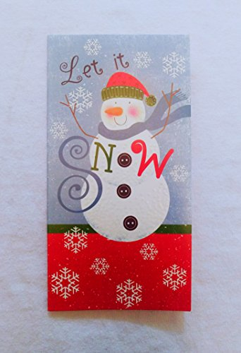 Christmas Money or Gift Card Holder Cards - Set of 8 with Metallic/Glitter Accents (Let it Snow)