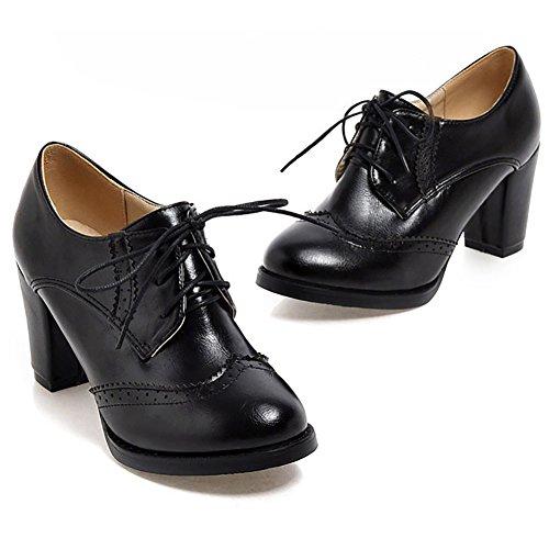 Odema Mujeres Cuero De La Pu Oxfords Brogue Wingtip Lace Up Vestido Zapatos Chunky High Heels Bombas Oxfords Negro