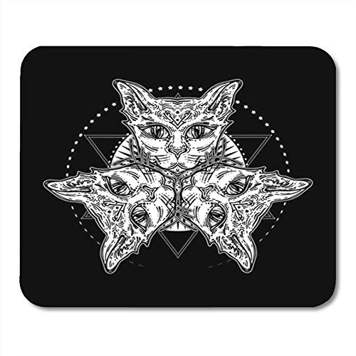 Gaming Mouse Pad Three of Cat's Head Mystical Composition Halloween Tattoo Spirituality Boho 7.18.7 Inches Decor Office Computer Accessories Nonslip Rubber Backing Mousepad Mouse Mat -