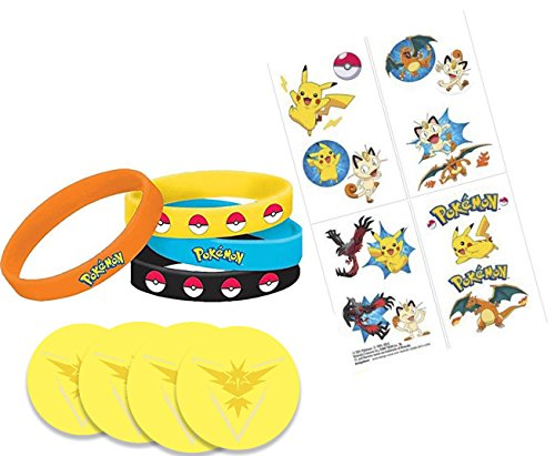 [Pokemon Party Favor Set, 4 Wristbands, 16 Tattoos and 4 Pins (1.5 inches) Go Gear for Trainers - Team Yellow, Instinct, - Pokemon Gift] (Tattoos Of Princess Crowns)
