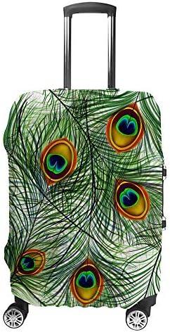 スーツケースカバー トラベルケース 荷物カバー 弾性素材 傷を防ぐ ほこりや汚れを防ぐ 個性 出張 男性と女性美しい孔雀の羽