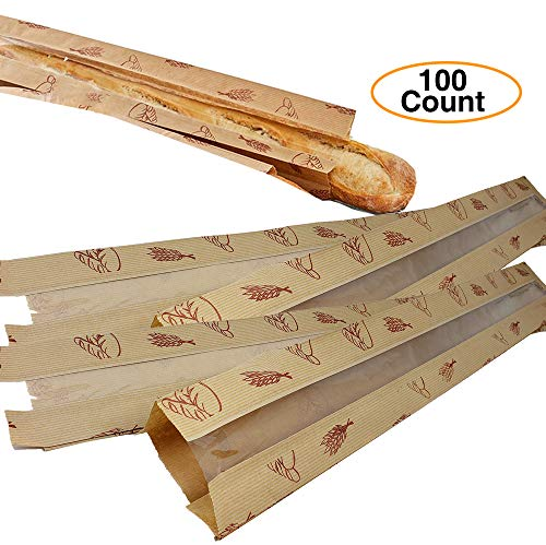 Long French Baguette Window Bread Kraft Paper Bags (100 ()