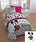 6 Piece Kids Mickey Mouse Themed Bedding Twin Set, Cute Disney Mickey Mouse Comforter + Mickey Pillow Buddy, Chevron White Gray Print Love Pattern, Adorable for Children