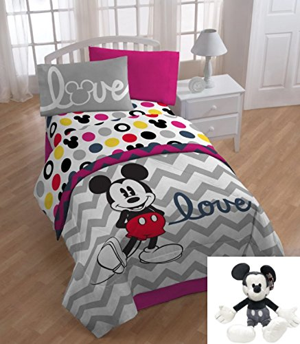6 Piece Kids Mickey Mouse Themed Bedding Twin Set, Cute Disney Mickey Mouse Comforter + Mickey Pillow Buddy, Chevron White Gray Print Love Pattern, Adorable for Children by OS (Image #1)