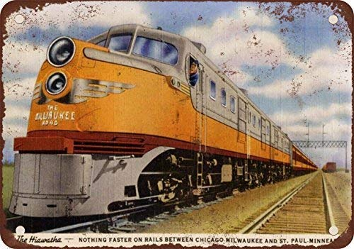 Jesiceny New Tin Sign 1948 Milwaukee Road Hiawatha Train Vintage Look Reproduction Aluminum Metal Sign 8x12 INCH