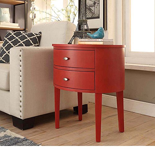 ModHaus Living Modern Style Wood Accent Nightstand End Sofa Table Console Oval Shaped with 2. Review