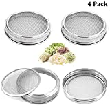 OWAY 4 Pack Sprouting Jar Screen Lids, 304 Stainless Steel Sprouting Lids for Wide Mouth 32 Oz Mason Jars, Canning Jars - Grow Organic Sprouting Seeds at Home