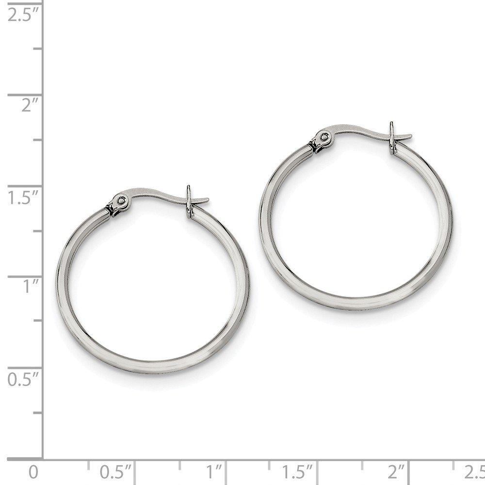Stainless Steel 27mm Diameter Hoop Earrings