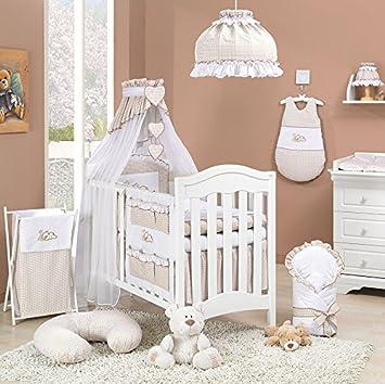 Parure de lit 14 pièces beige et blanc bébé linge de lit gigoteuse ...