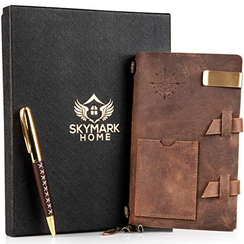 قیمت و خرید مجله چرمی مجله مسافرت دست ساز دفتر خاطرات عتیقه ای نوشتن دفترچه یادداشت برای مردان و زنان کاغذ قابل انعطاف بافته شده 7 X 4 8 اینچ جعبه هدیه