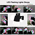 DAWAY Z01 LED Finger Lighting Gloves - 6 Flashing Modes and 7 Light Colors Cotton Gloves for Rave Party Show(Black)