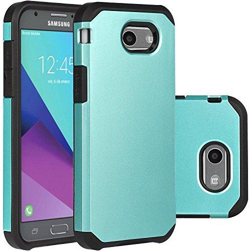 Turquoise Samsung Galaxy J3 Emerge Case/J3 Prime/J3 2017/Amp Prime 2/Express Prime 2/Sol 2/J3 Luna Pro/J3 Eclipse/J3 Mission Case, LUHOURI Hybrid Armor Rugged Defender Protective Case Cover Teal