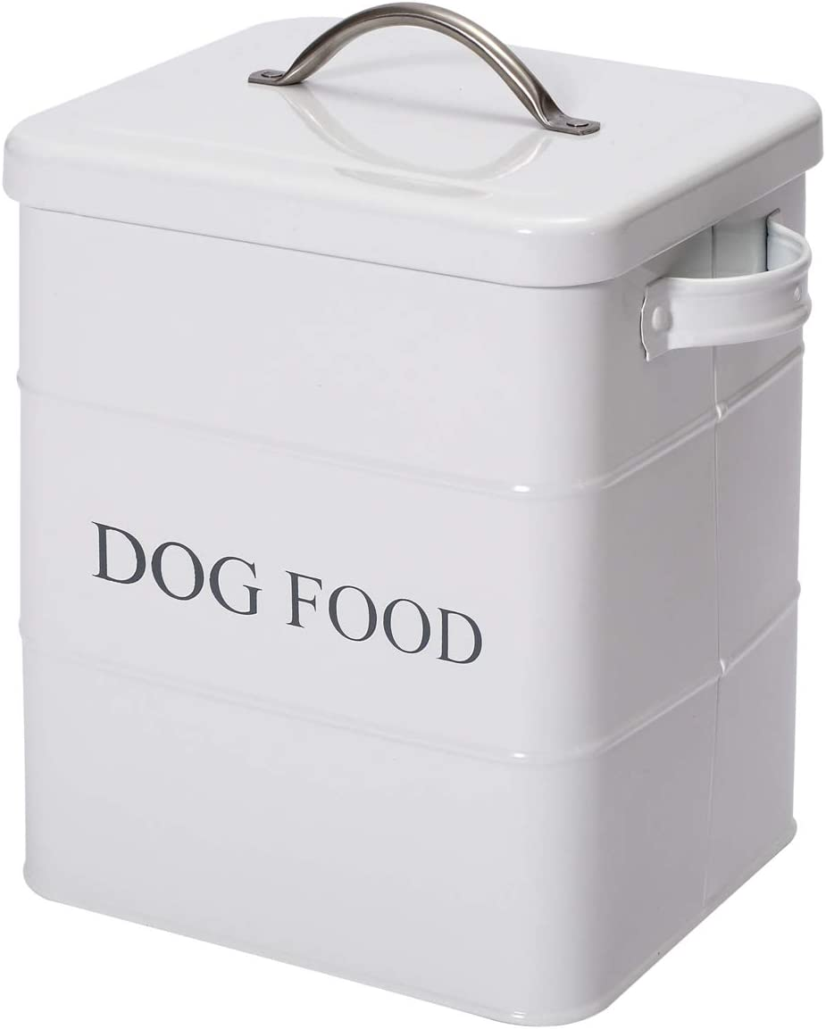 Geyecete airtight Dog Treat Container bin and Dog Food Storage Tin with Lid with Handle Serving Scoop Included Cream Powder - Coated Carbon Steel - Tight Fitting Lids
