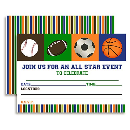 Amanda Creation All Star Sports Birthday Party Invitations set of Ten Fill In Cards by - All Star Football Invitations