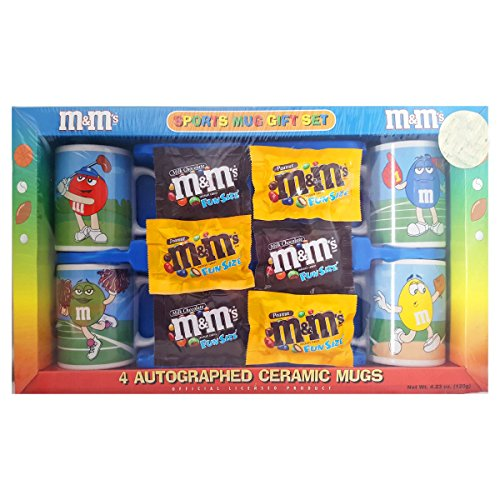 M&M's Collectible 2004 Gift Set 4 Autographed Ceramic Sports Mugs, Includes Candy ()