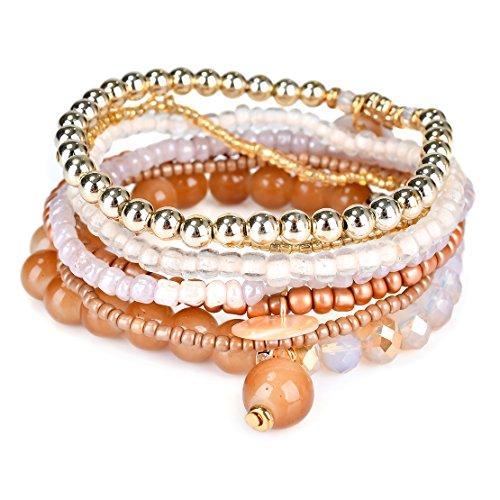 Bohemian White Beaded Bracelet Stretch Wrap Bangle With Charms Shells Round Layered RareLove (Bone color)