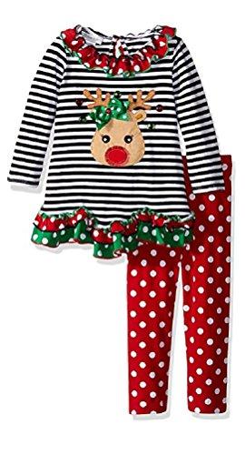 Bonnie Jean Girls' Little Girls' Reindeer Knit Set, Black/White, -