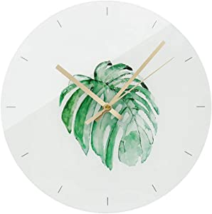 Modern Clock Glass 12 Inch Decorative Simple Palm Leaves Decor Silent Wall Clock for Bedroom Kitchen Office Decor