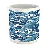 Lunarable Japanese Wave Mug, Stormy Sea with Abstract Chinese Ethnic Folk Art Influences, Printed Ceramic Coffee Mug Water Tea Drinks Cup, Pale Blue Dark Blue White