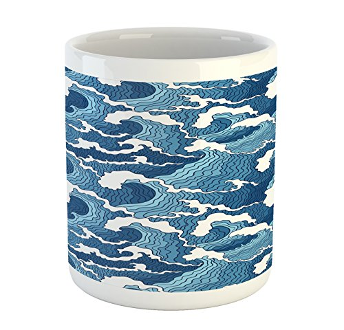 Lunarable Japanese Wave Mug, Stormy Sea with Abstract Chinese Ethnic Folk Art Influences, Printed Ceramic Coffee Mug Water Tea Drinks Cup, Pale Blue Dark Blue White by Lunarable