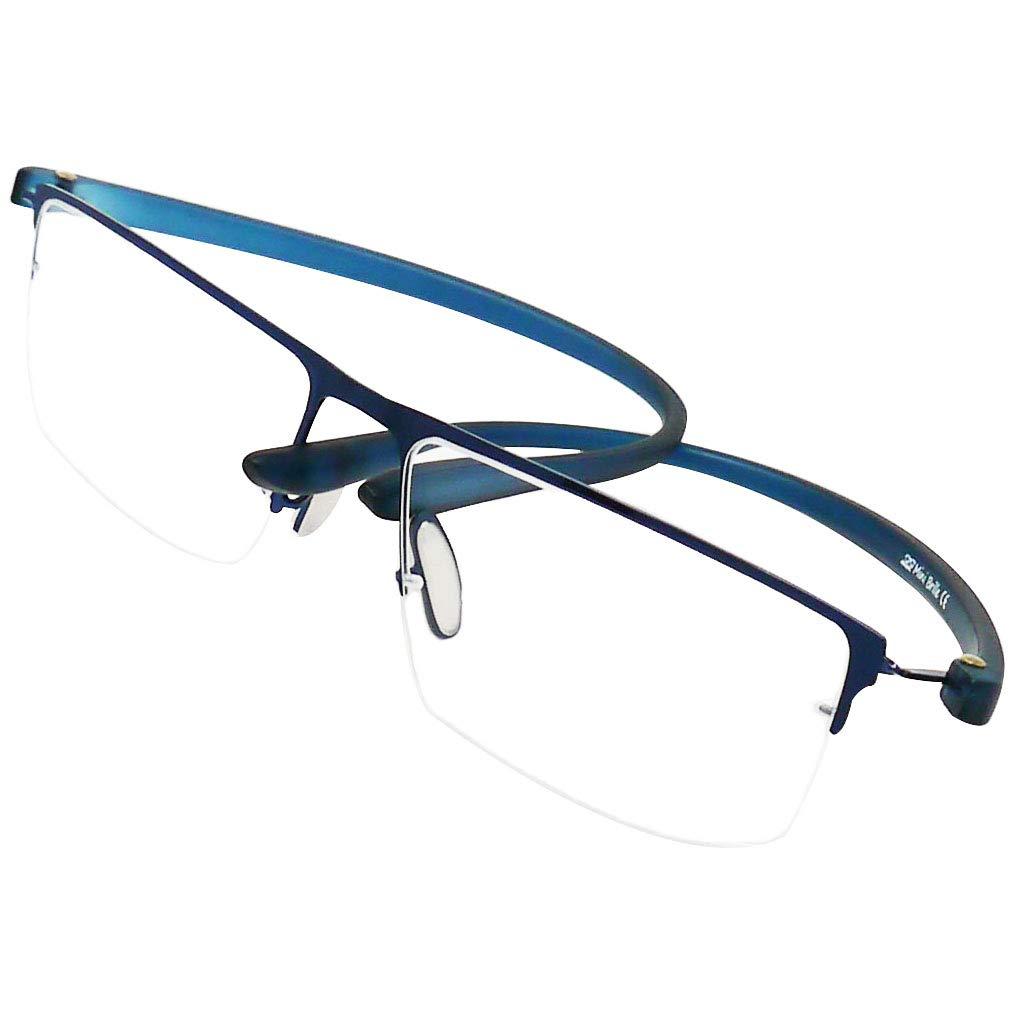 Gafas de Lectura con Cristales Rectangulares Gafas Para Leer Para Hombre y Mujer +2.5 Dioptr/ías Media Montura de Acero Inoxidable Grafito Funda y Pa/ño de Microfibra GRATIS