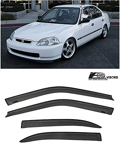(Extreme Online Store for 1996-2000 Honda Civic 4Dr Sedan Models | EOS Visors JDM Tape-On Style Smoke Tinted Side Window Deflectors Rain Guard )