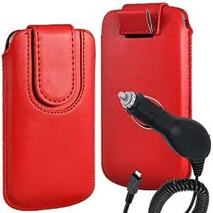 N4U Online Premium cuero de la PU del caso del tirón Tirar Tab cubierta de bolsa Con magnética Cierre de correa y Cargador de Coche para HTC One V - Rojo