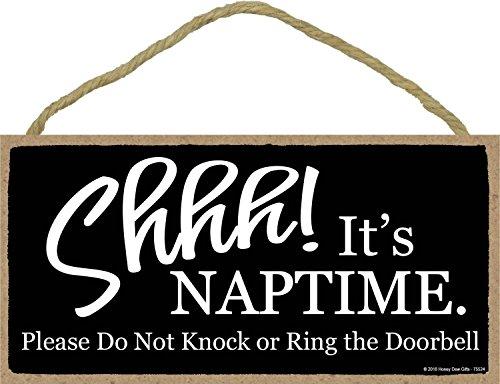 Door Signs, Shhh It's Nap Time Please Do Not Knock or Ring The Door Bell - 5 x 10 inch Hanging Baby Sleeping Sign for Front Door