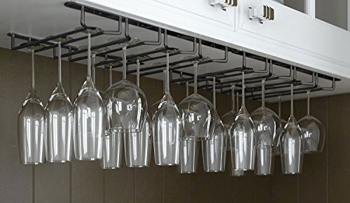 Useful. Under Cabinet Hanging Stemware Rack Hold Up To 24 Wine Glasses (Black)]()