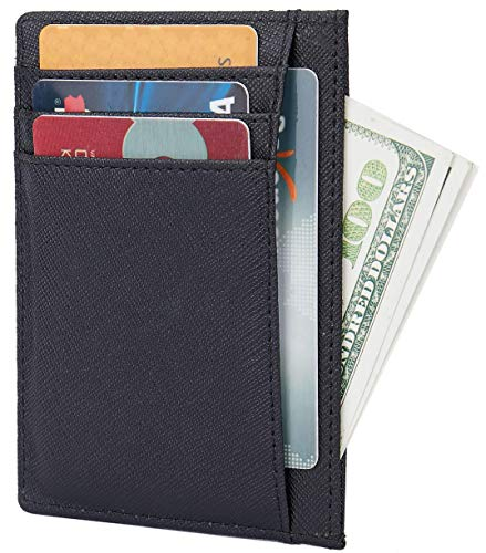Small Genuine Leather RFID Blocking Minimalist Wallet Credit ID Card Holder Travel Slim Pocket Wallet Money Clip Men Women, Black by Linscra (Image #2)
