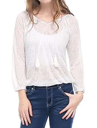Allegra K Blusa Para Mujer Patrón De Paisley Tasseled Jacquard Corbatas - Blanco/XS (US 2, EU 32)